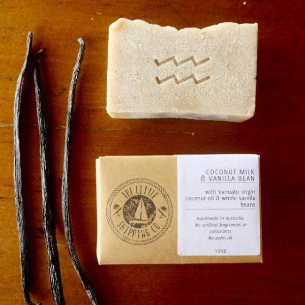 Coconut milk and Vanilla Bean soap made with real vanilla beans and organic coconut oil. Palm oil free