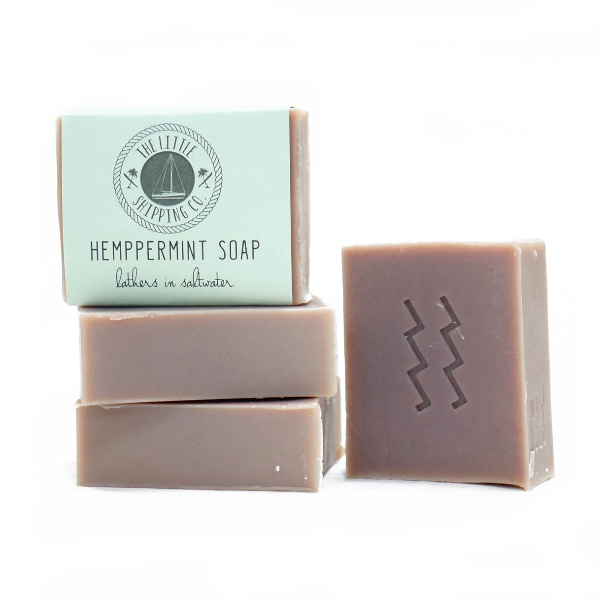 Hemppermint sailor soap, hemp extract and peppermint, lathers in saltwater, palm oil free, made with virgin coconut oil