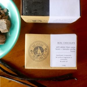 Chocolate soap made with Fijian chocolate real vanilla beans and organic coconut oil. Palm oil free