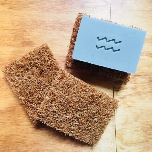 Coconut fibre or coco-fibre soap rest, natural fibres with non toxic adhesive, will help your soap to last longer