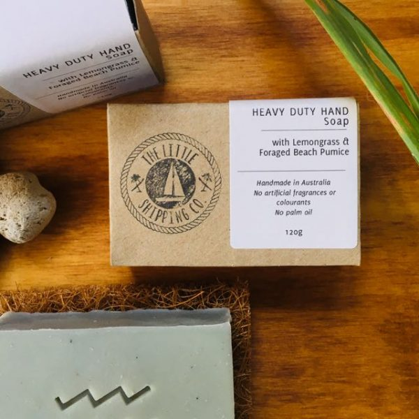 all natural heavy duty soap with scrubby pumice and lemongrass essential oil, hand made in Australia from ethically sourced ingredients